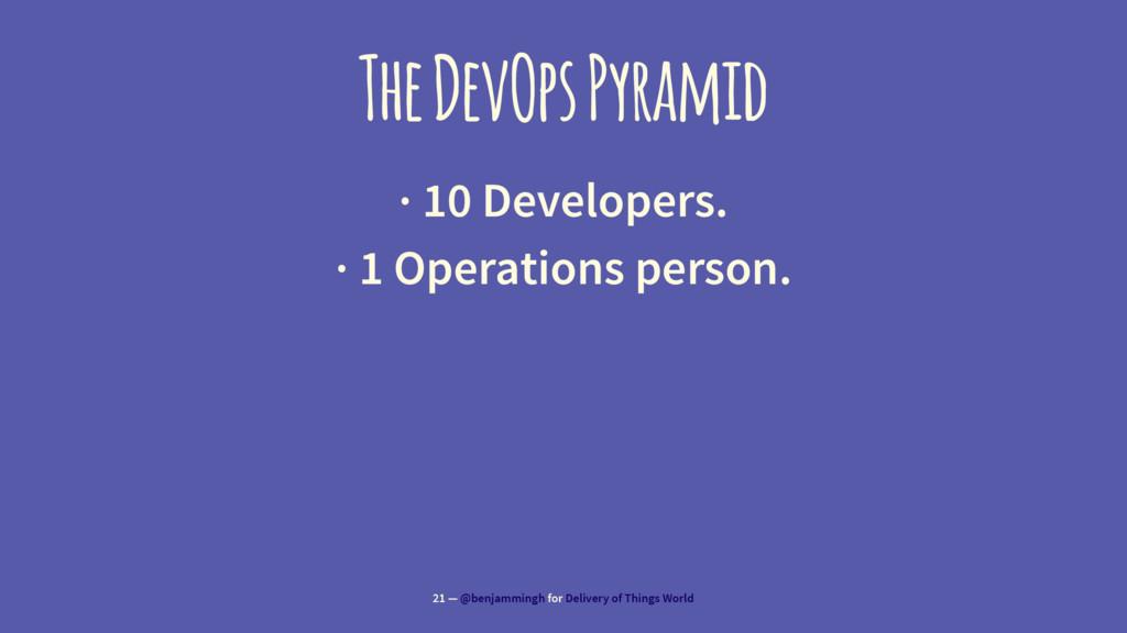 The DevOps Pyramid · 10 Developers. · 1 Operati...