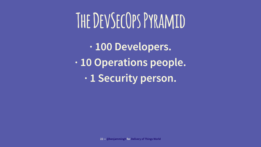 The DevSecOps Pyramid · 100 Developers. · 10 Op...