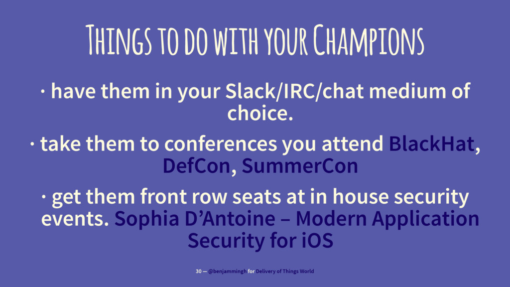Things to do with your Champions · have them in...