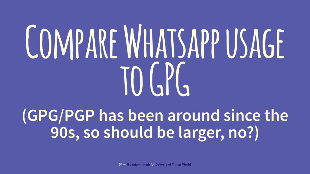 Compare Whatsapp usage to GPG (GPG/PGP has been...