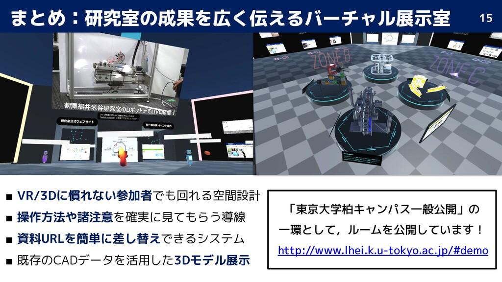 まとめ:研究室の成果を広く伝えるバーチャル展示室 ■ VR/3Dに慣れない参加者でも回れる空間...