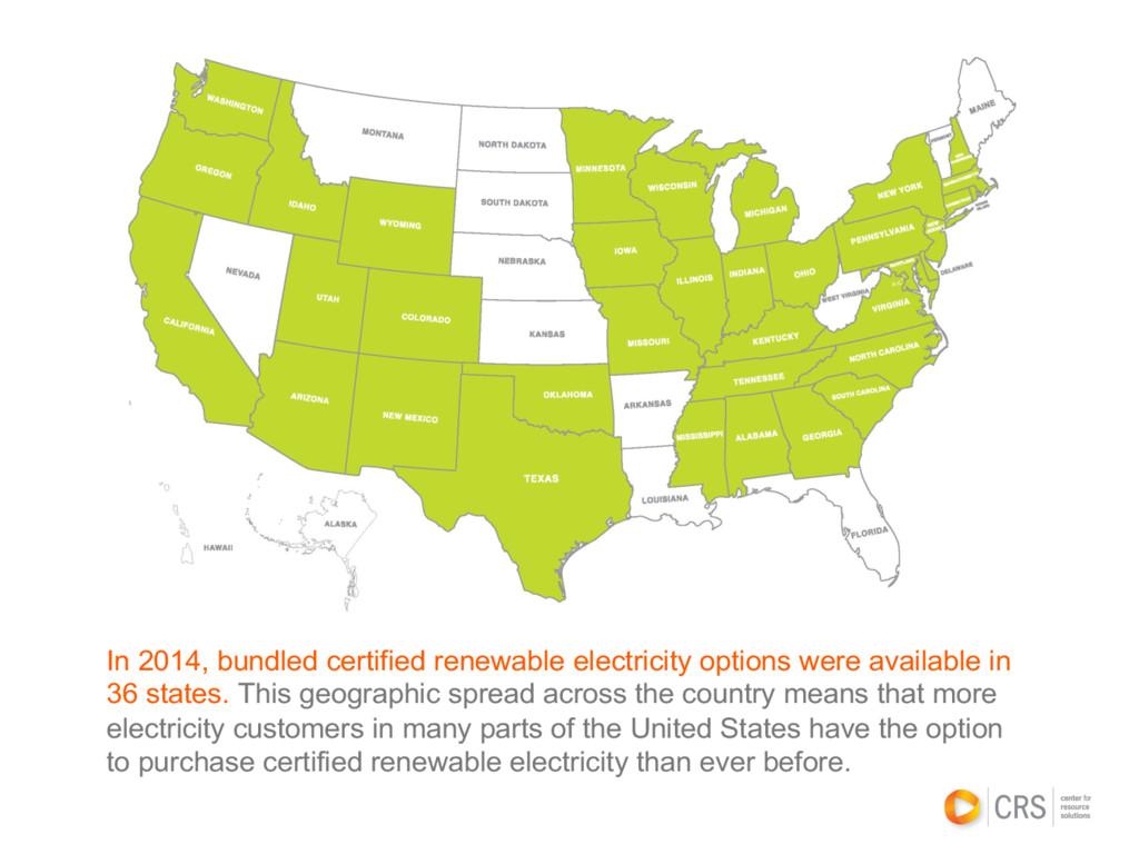 In 2014, bundled certified renewable electricit...