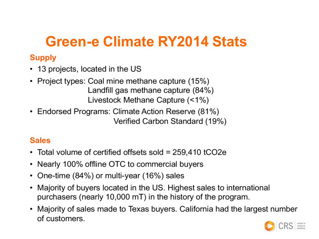 Green-e Climate RY2014 Stats Supply • 13 projec...