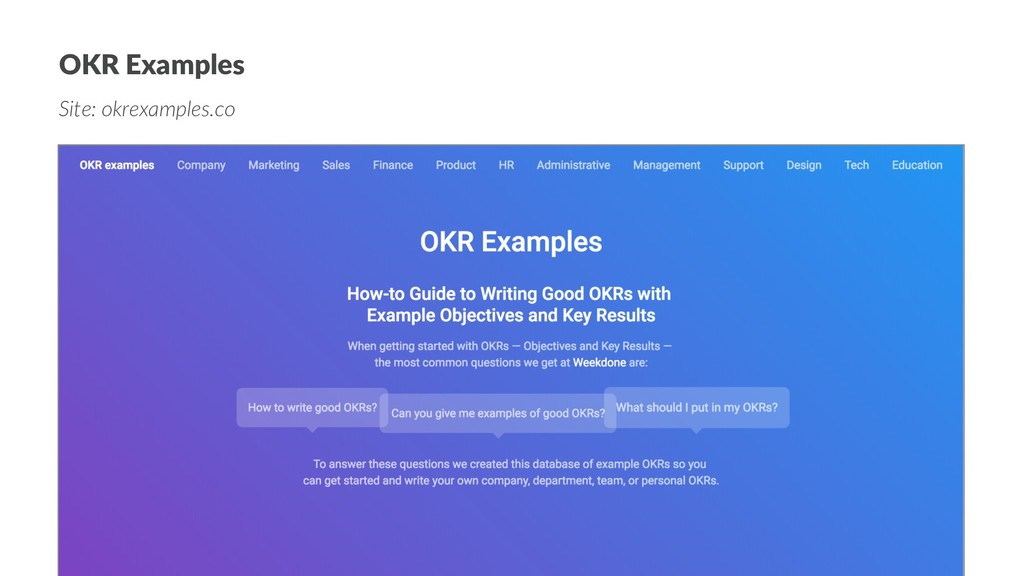 OKR Examples Site: okrexamples.co