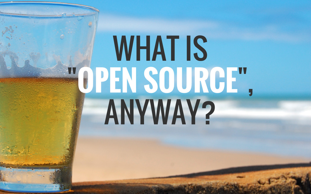 "WHAT IS ""OPEN SOURCE"", ANYWAY?"