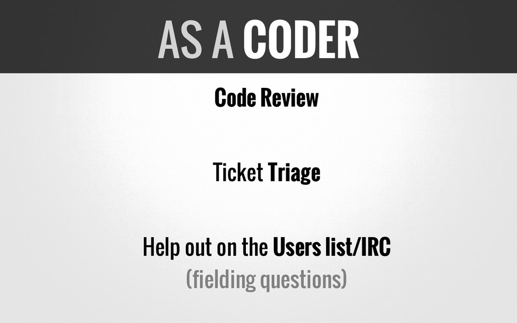 Code Review Ticket Triage Help out on the Users...