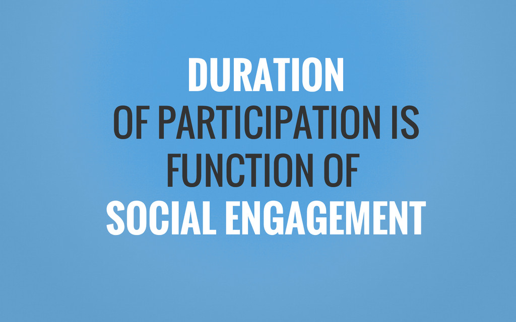 DURATION OF PARTICIPATION IS FUNCTION OF SOCIAL...