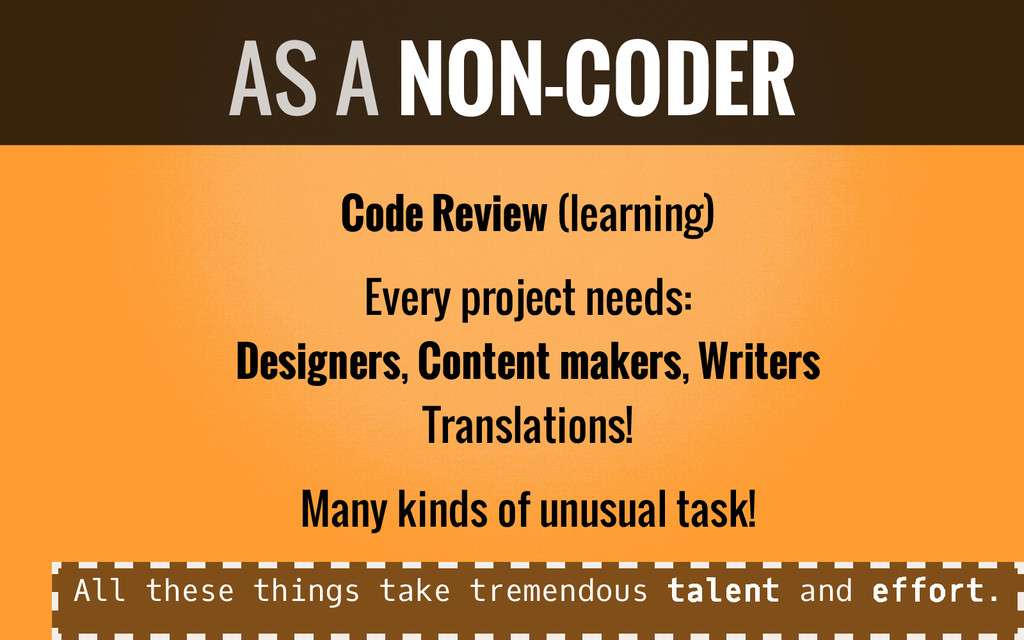 Code Review (learning) Every project needs: Des...