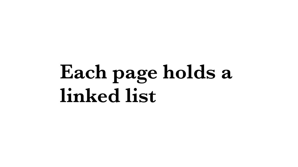 Each page holds a linked list