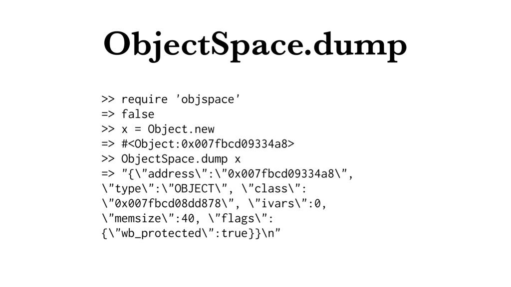 ObjectSpace.dump >> require 'objspace' => false...