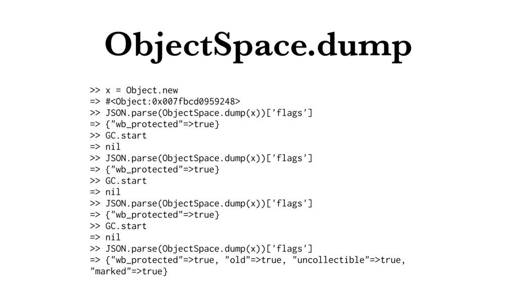 ObjectSpace.dump >> x = Object.new => #<Object:...
