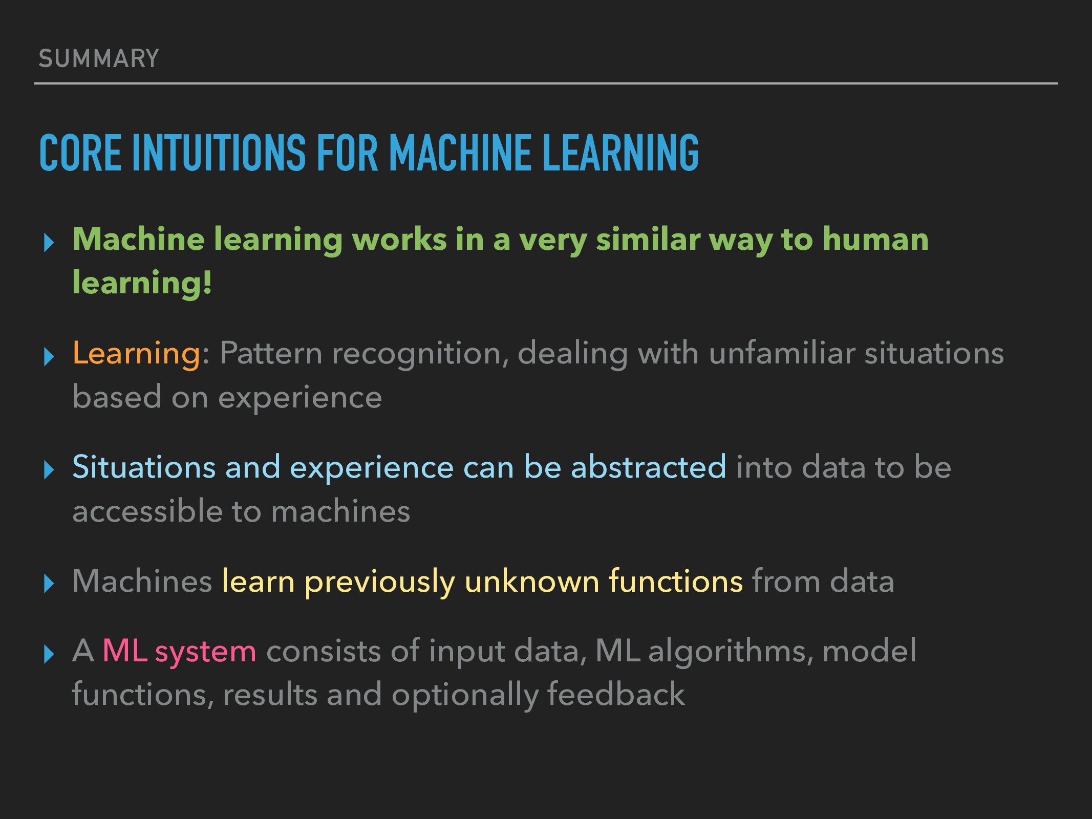 SUMMARY CORE INTUITIONS FOR MACHINE LEARNING ▸ ...