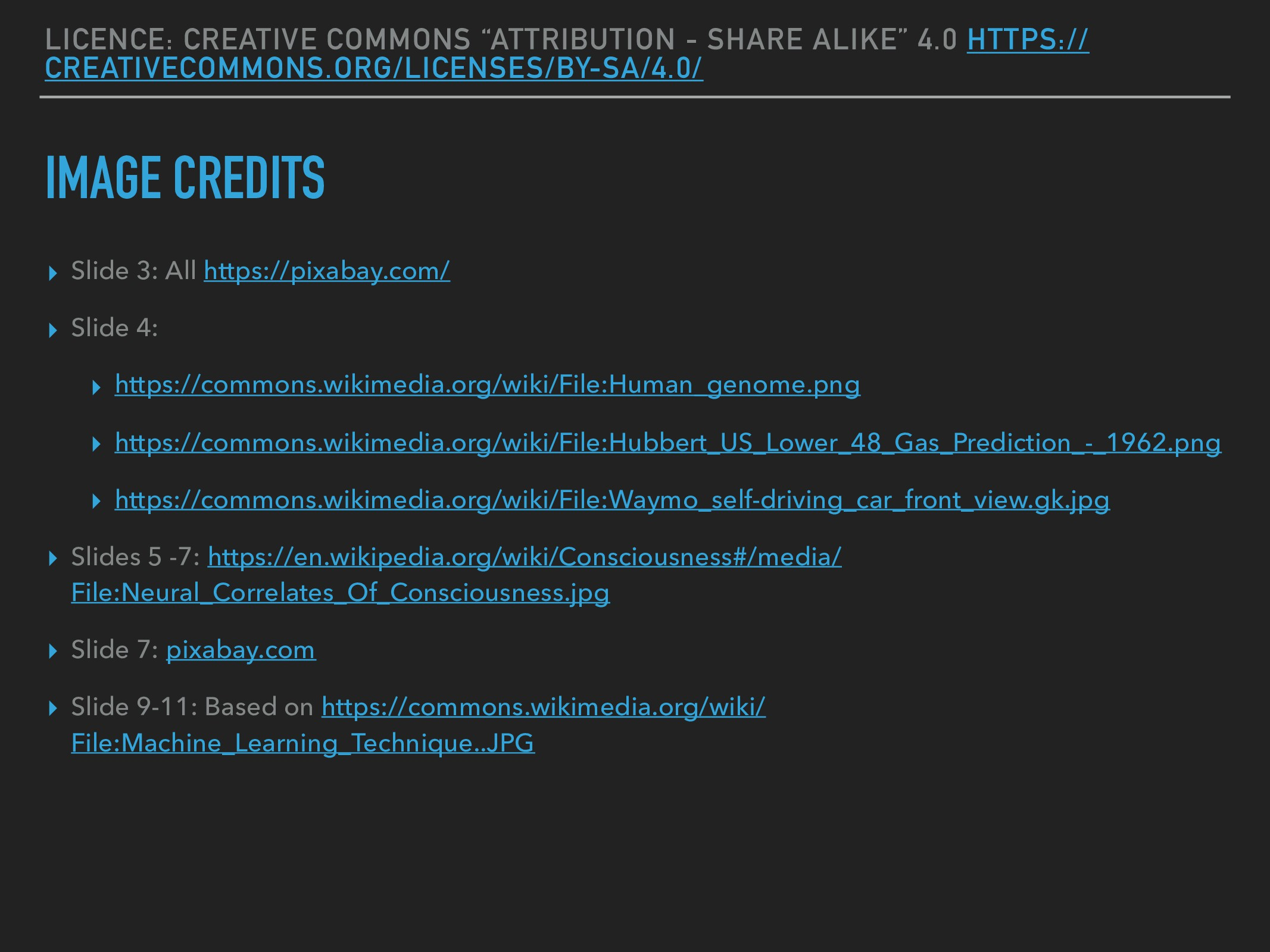 """LICENCE: CREATIVE COMMONS """"ATTRIBUTION - SHARE ..."""