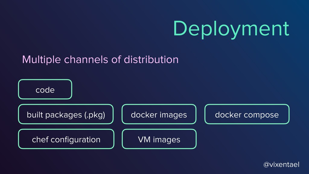 @vixentael Deployment Multiple channels of dist...