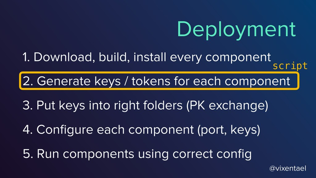 2. Generate keys / tokens for each component @v...