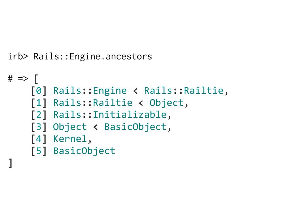 irb> Rails::Engine.ancestors # => [     [0]...