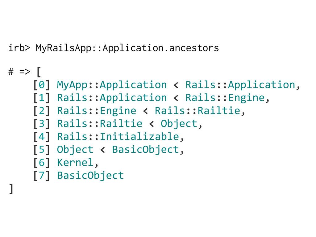 irb> MyRailsApp::Application.ancestors # => [  ...