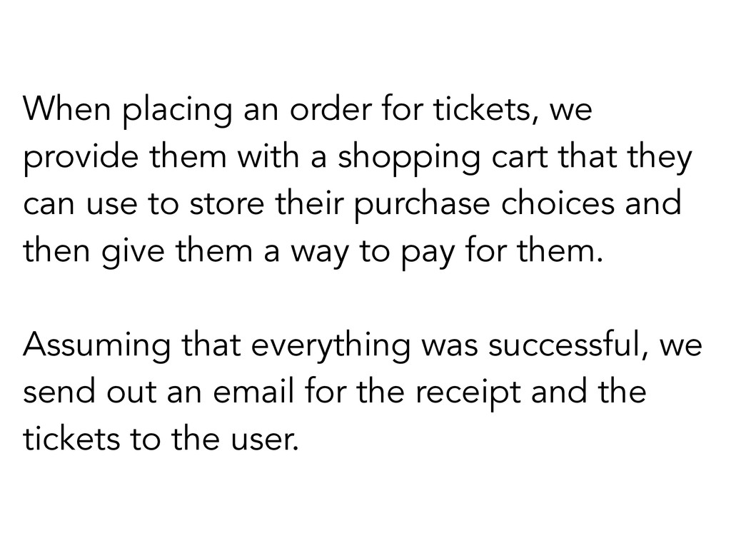 When placing an order for tickets, we provide t...