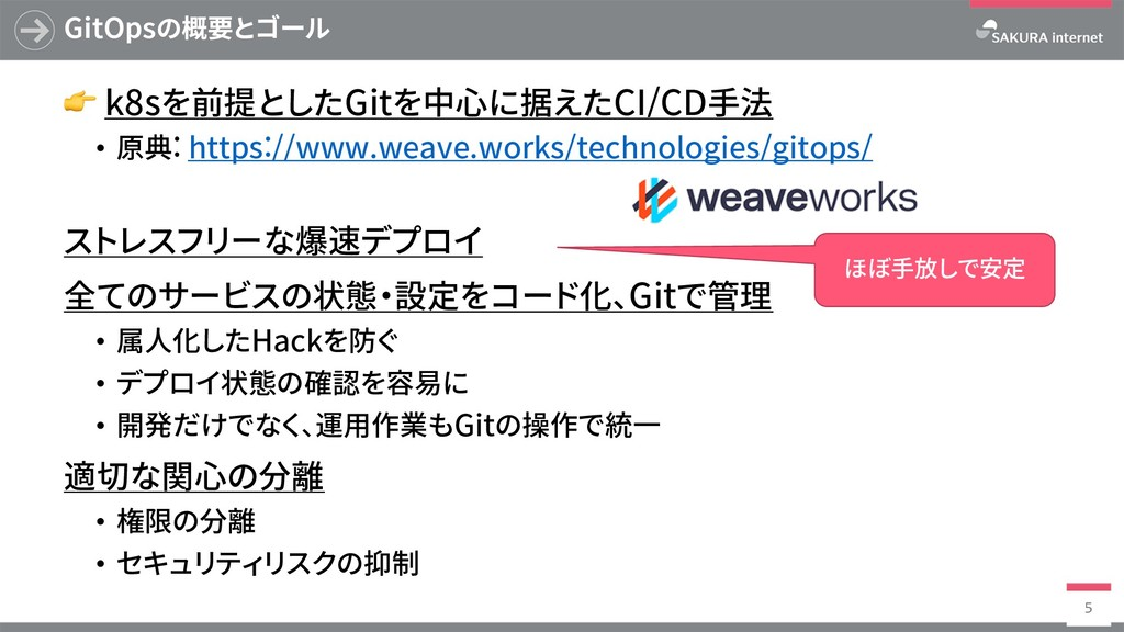 GitOpsの概要とゴール  k8sを前提としたGitを中⼼に据えたCI/CD⼿法 • 原典:...