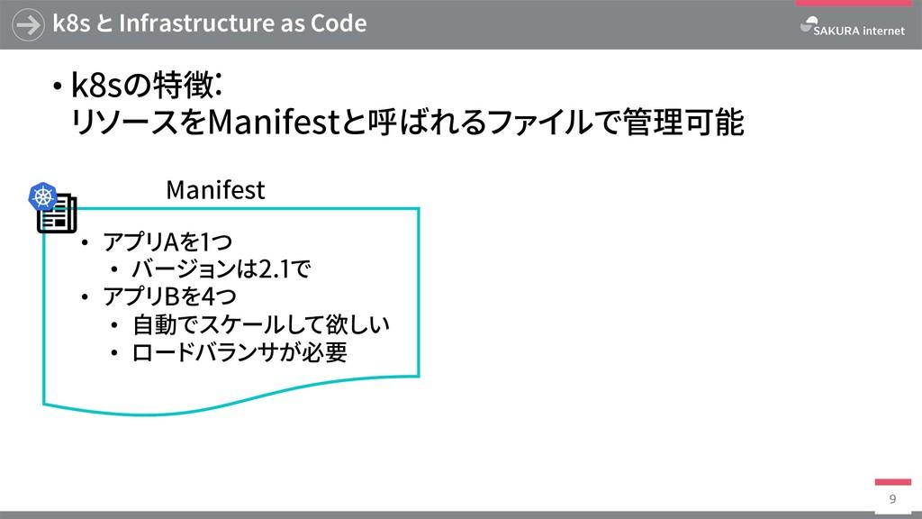 k8s と Infrastructure as Code • k8sの特徴: リソースをMan...