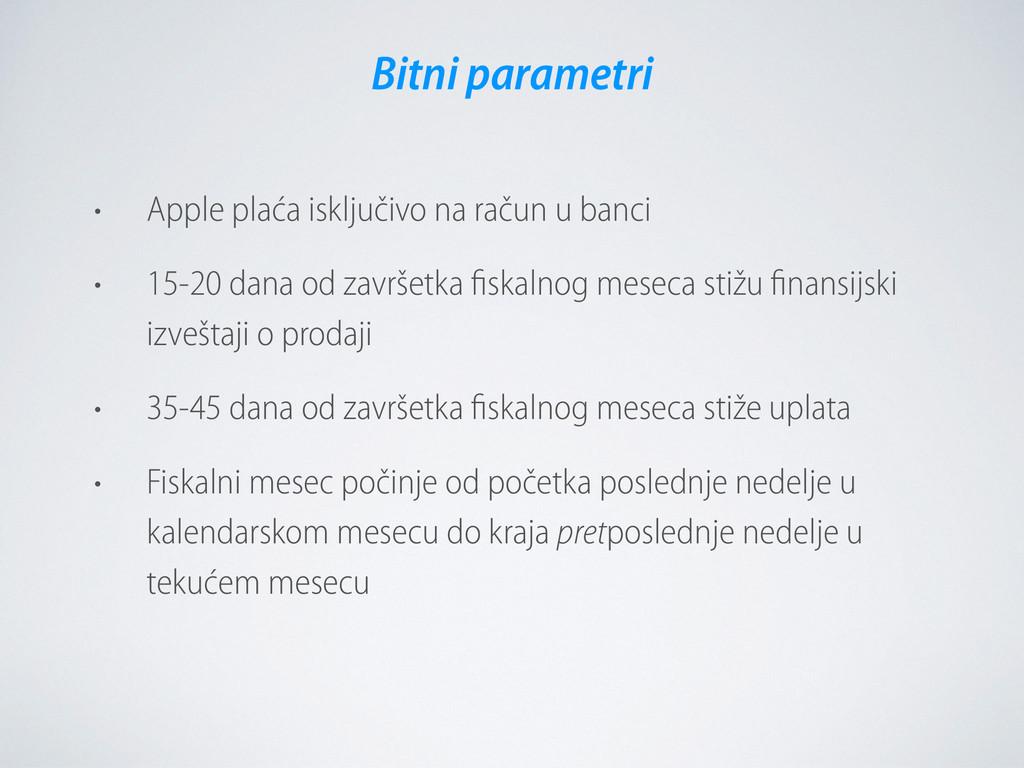 • Apple plaća isključivo na račun u banci • 15-...