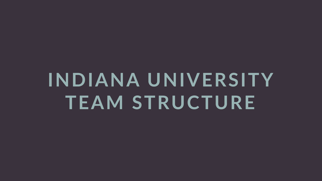 INDIANA  UNIVERSITY   TEAM  STRUCTURE