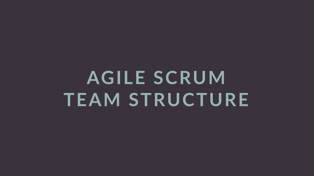 AGILE  SCRUM   TEAM  STRUCTURE