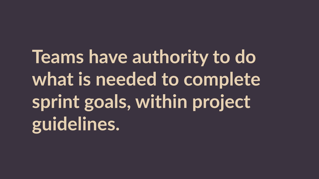 Teams  have  authority  to  do   what  is  need...
