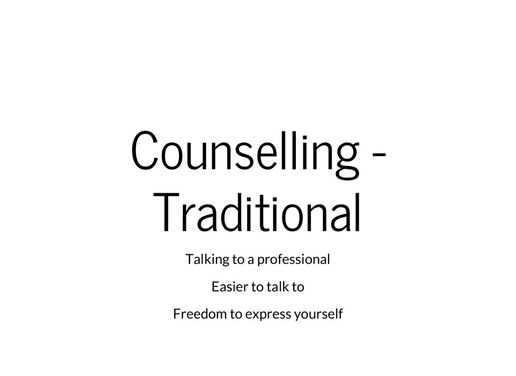 Counselling - Traditional Talking to a professi...