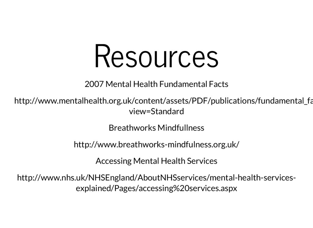 Resources 2007 Mental Health Fundamental Facts ...