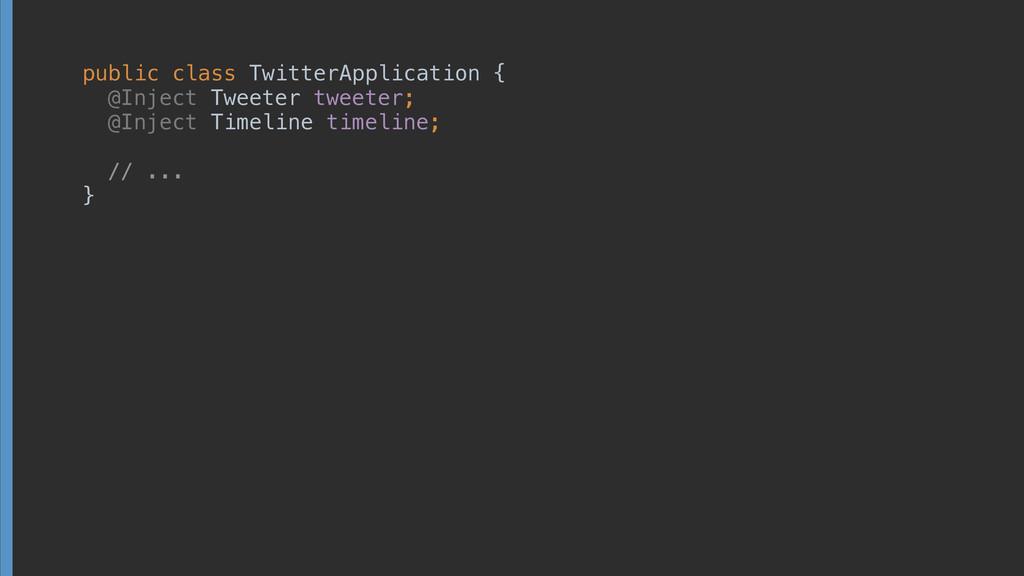 public class TwitterApplication { @Inject Twee...