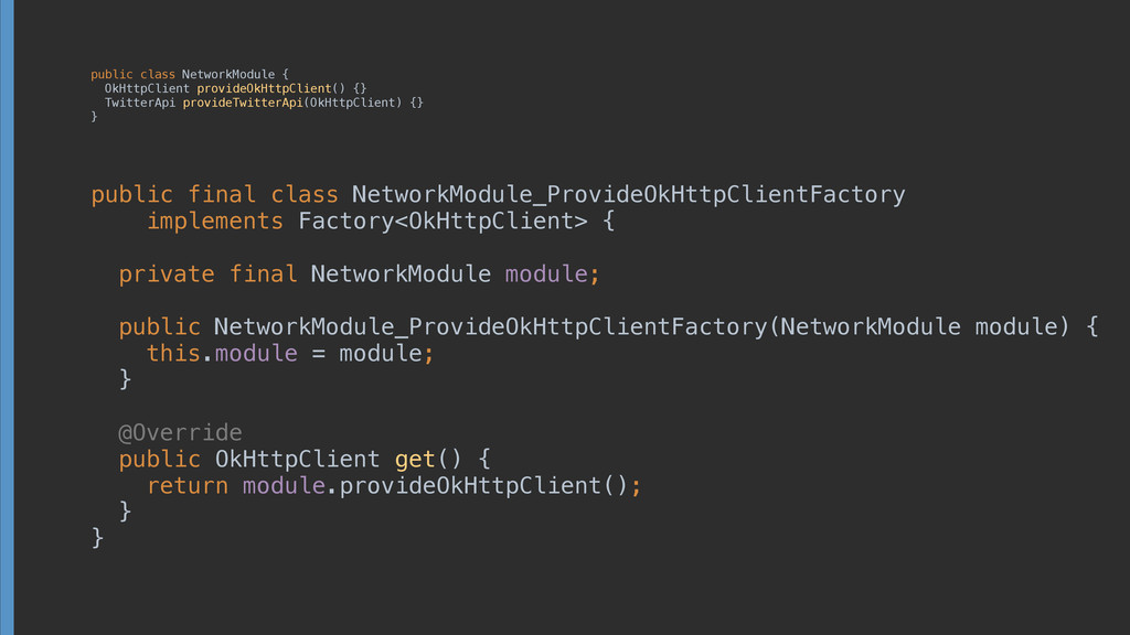 public class NetworkModule { OkHttpClient prov...
