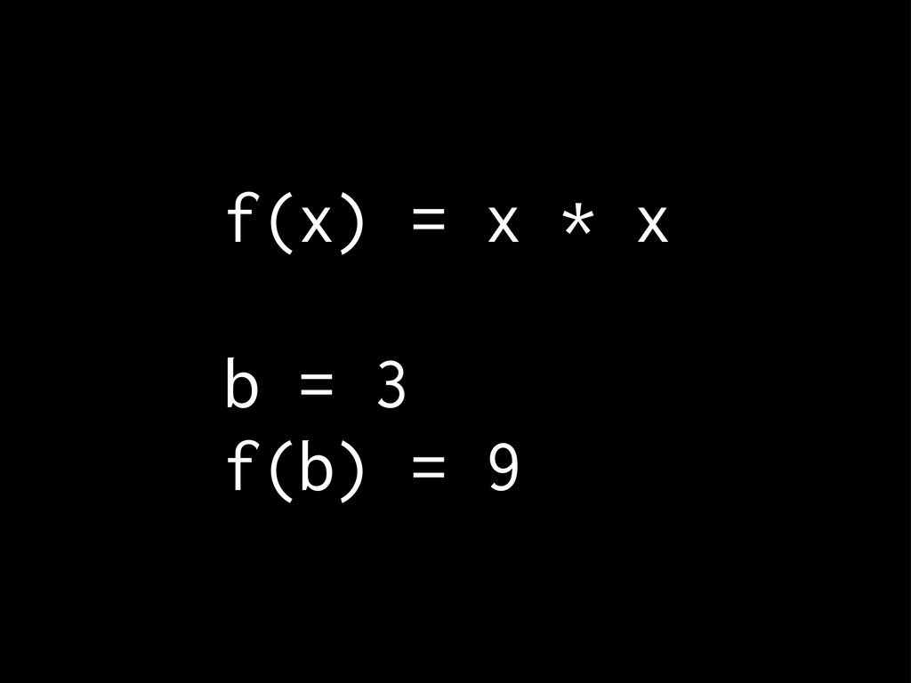 f(x) = x * x b = 3 f(b) = 9