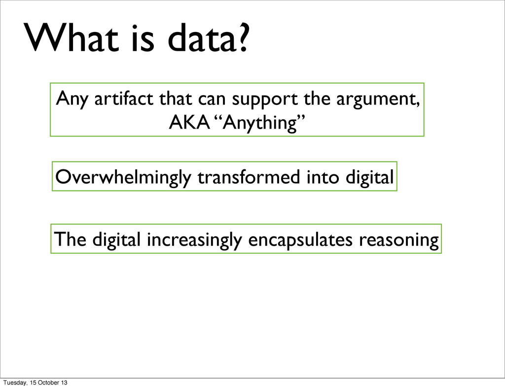What is data? Any artifact that can support the...