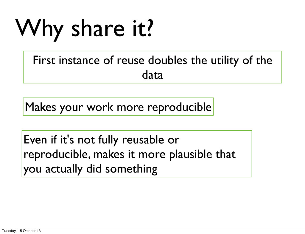 Why share it? First instance of reuse doubles t...