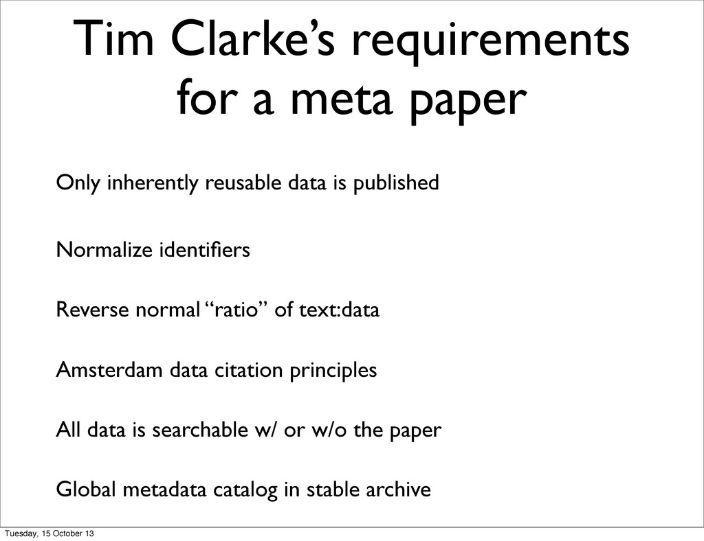 Tim Clarke's requirements for a meta paper Only...