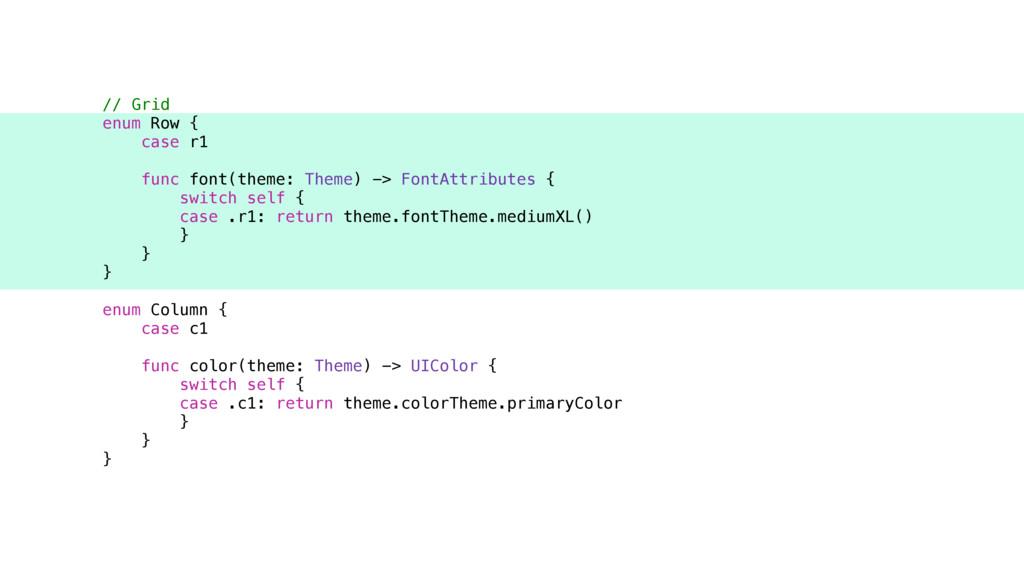 // Grid enum Row { case r1 func font(theme: The...