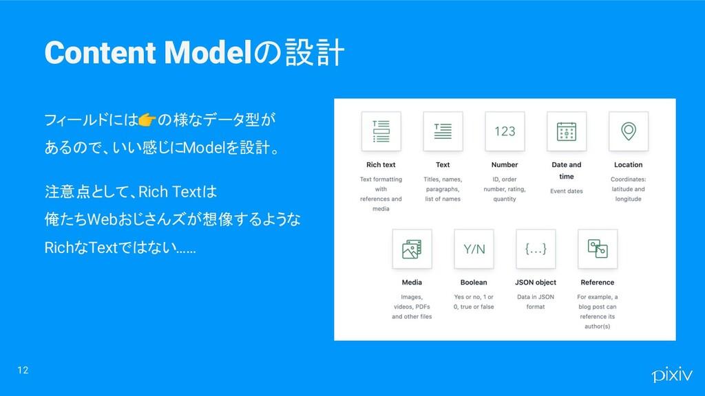 Content Modelの設計 12 フィールドには👉の様なデータ型が あるので、いい感じに...