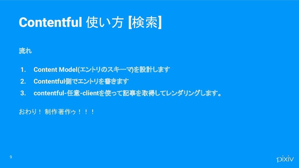 Contentful 使い方 [検索] 9 流れ 1. Content Model(エントリの...