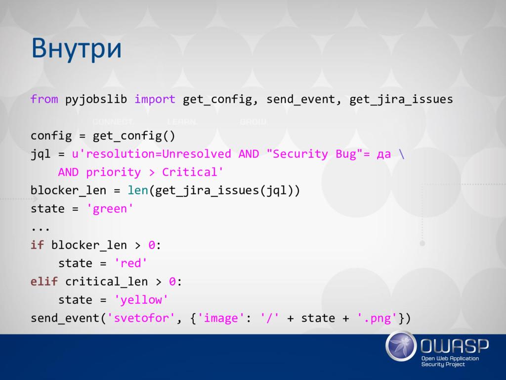 Внутри from pyjobslib import get_config, send_e...
