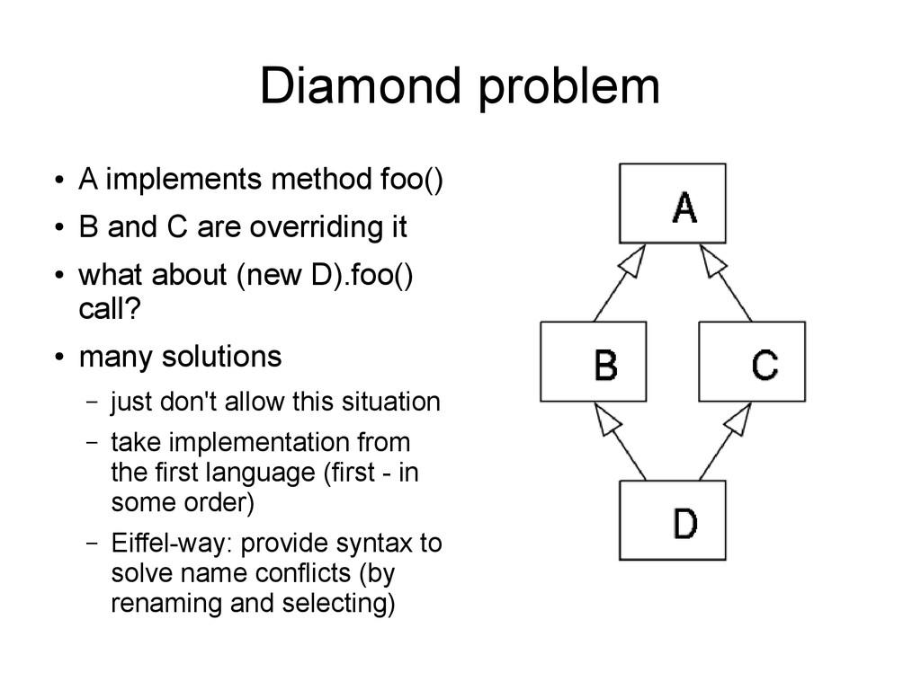 Diamond problem ● A implements method foo() ● B...
