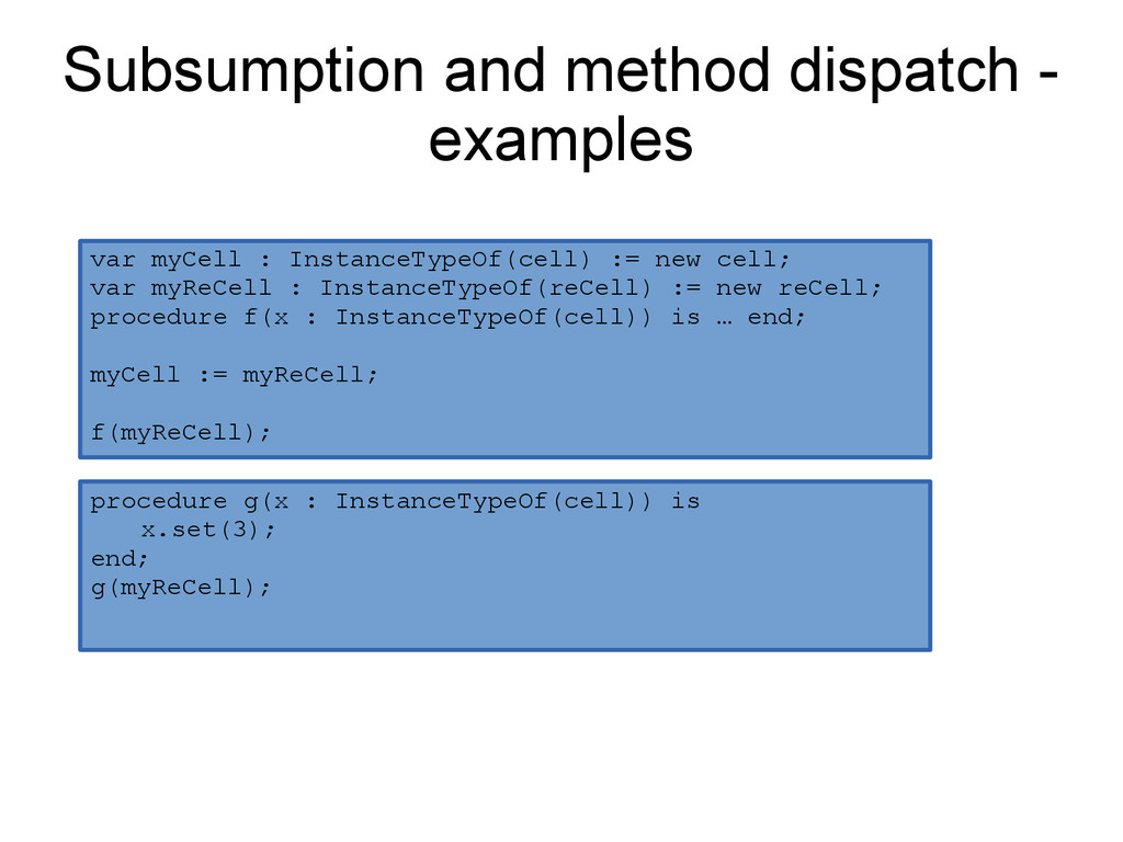 Subsumption and method dispatch - examples proc...
