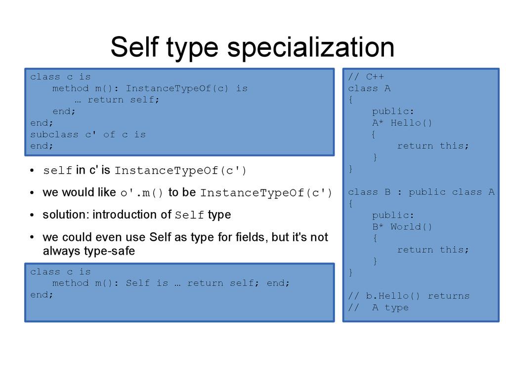 Self type specialization ● self in c' is Instan...