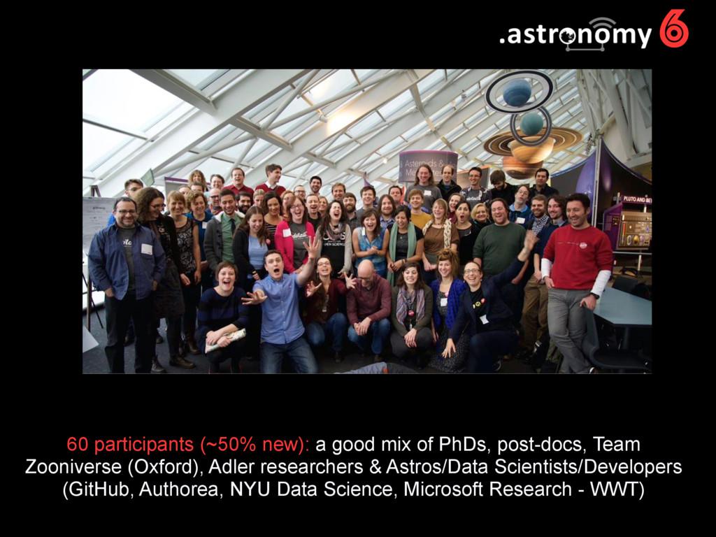 6 60 participants (~50% new): a good mix of PhD...