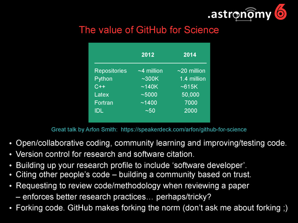 6 The value of GitHub for Science Great talk by...