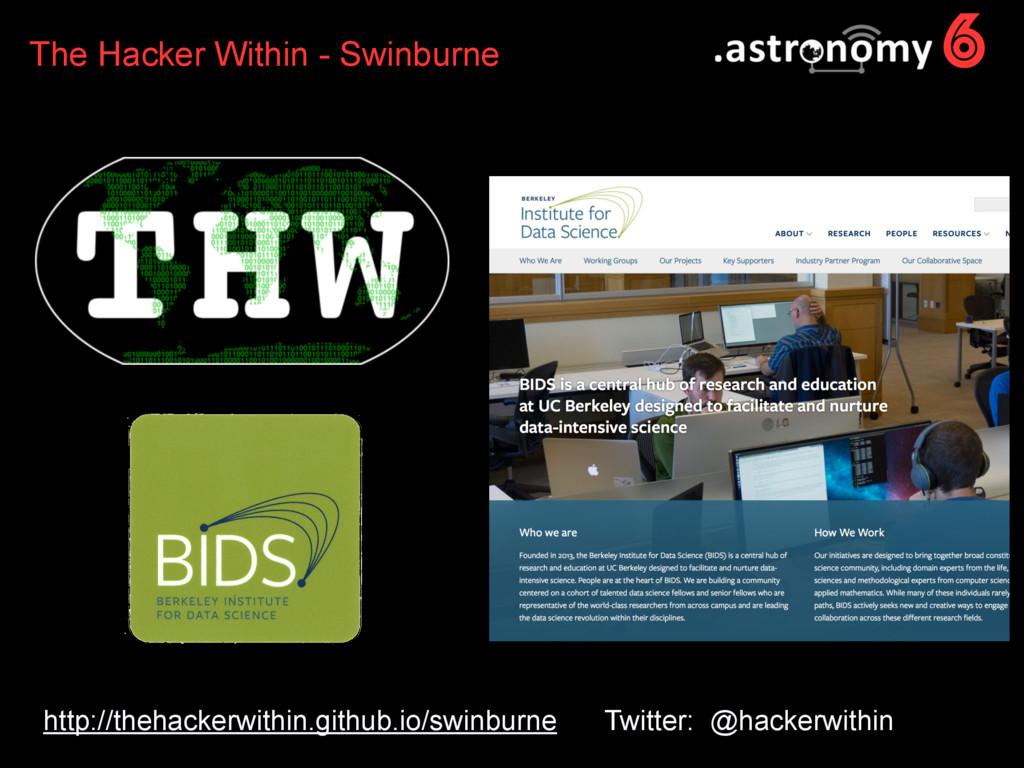 6 http://thehackerwithin.github.io/swinburne Tw...