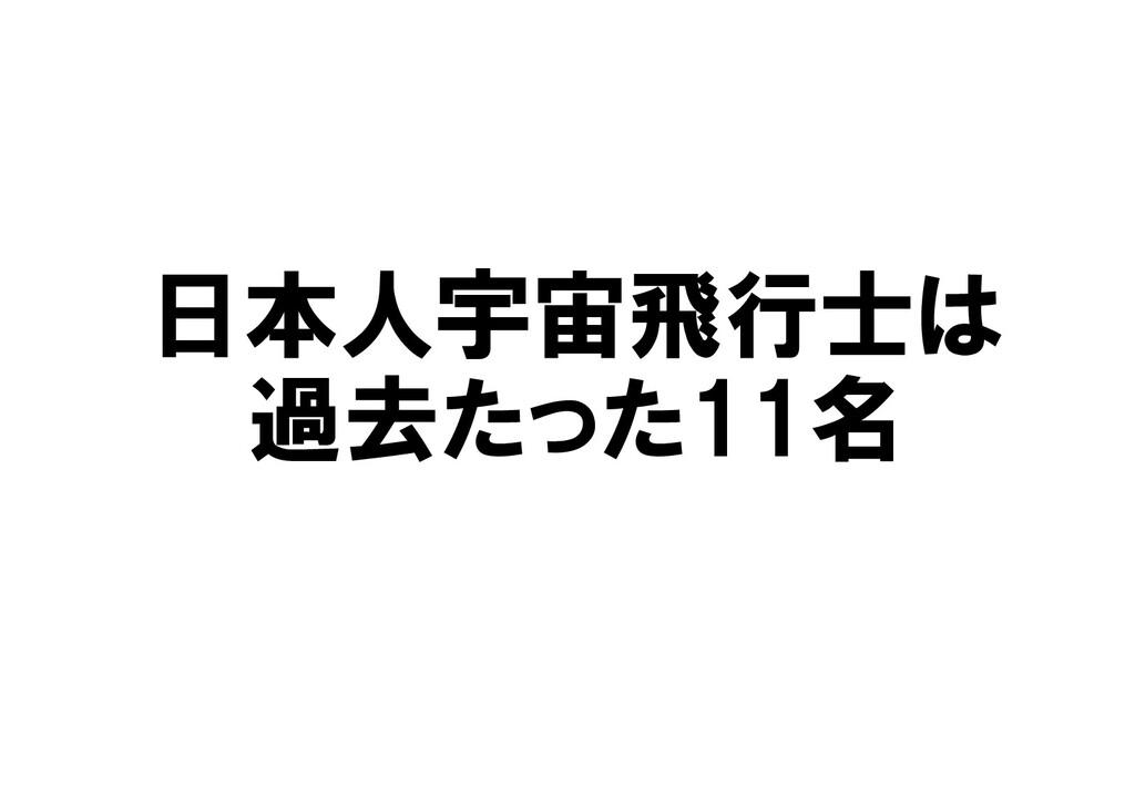 日本人宇宙飛行士は 過去たった11名