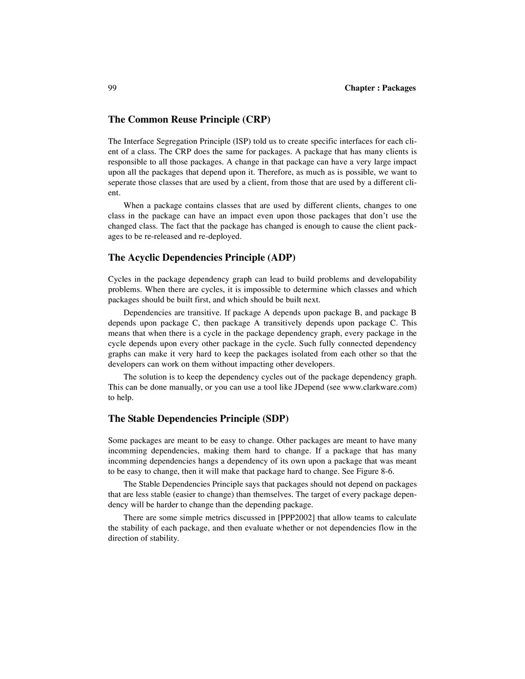 99 Chapter : Packages The Common Reuse Principl...