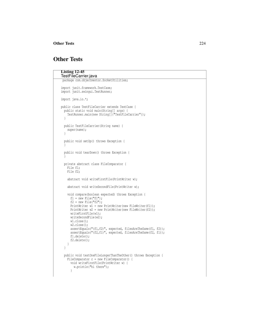 224 Other Tests Other Tests Listing 12-45 TestF...