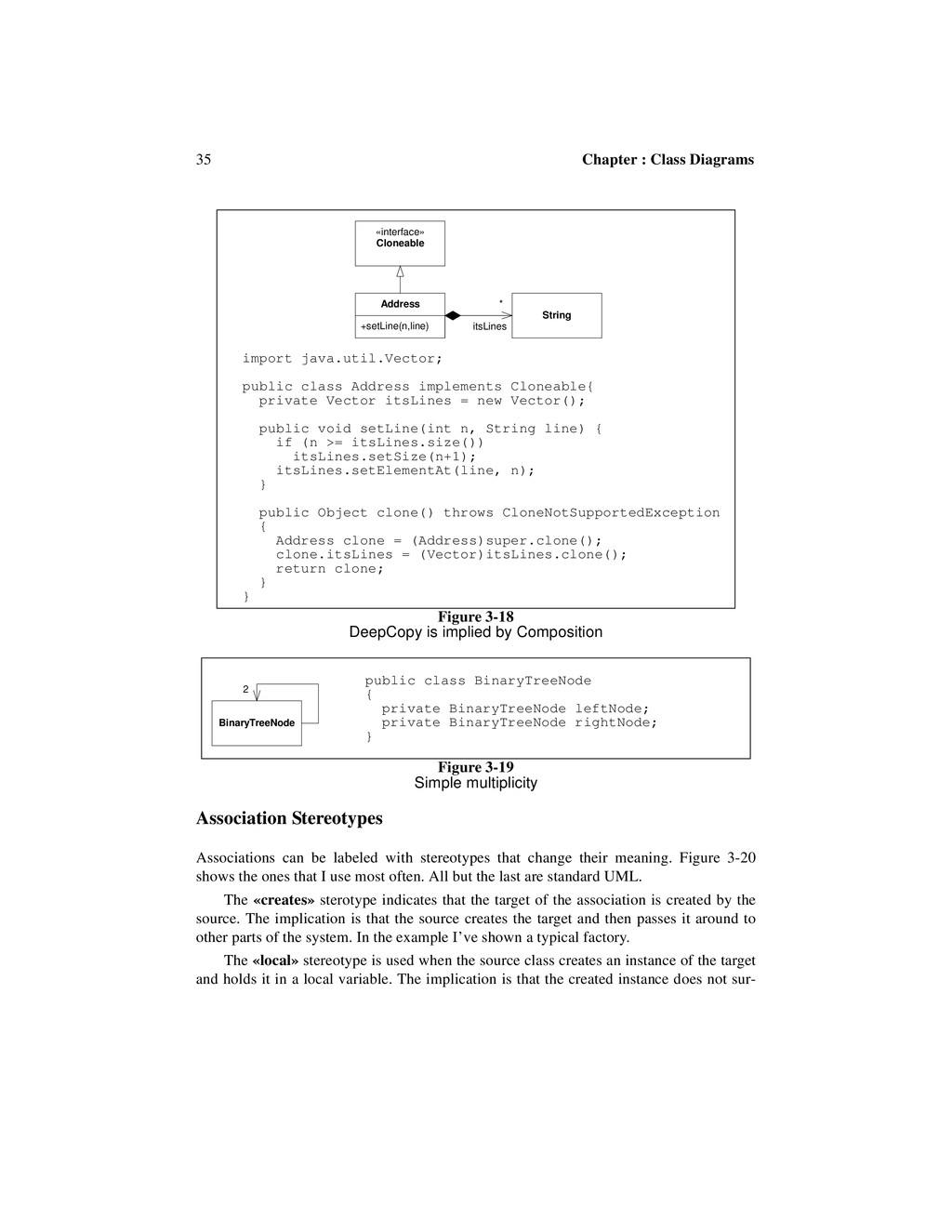 35 Chapter : Class Diagrams Association Stereot...